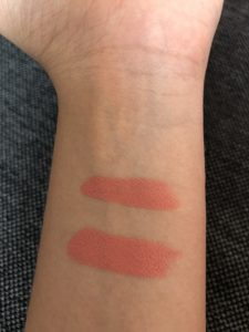 Matte lipstick swatches on an arm