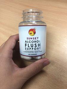 Sunset Alcohol Flush Support bottle